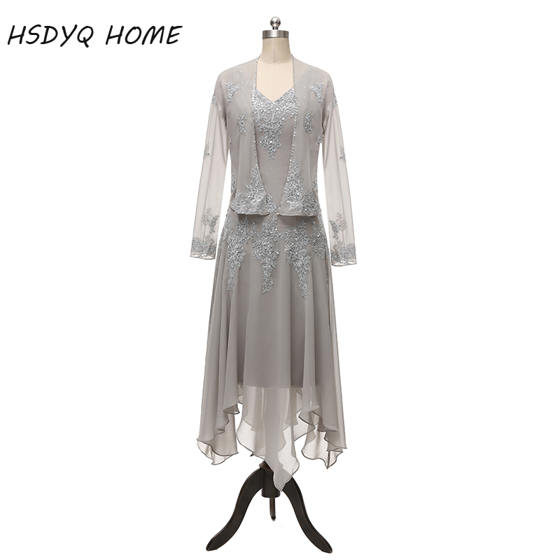 2017 Chiffon Mother of Bride Dresses with Long Sleeves Beads Two Pieces Mid Carf Wedding Party Groom Gowns