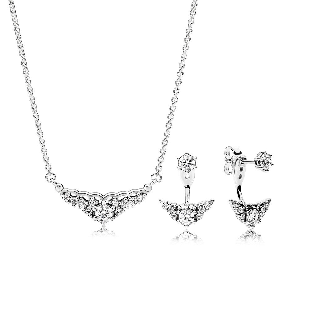 NEW 100% 925 sterling silver Fairytale Tiara Earring and Necklace Gift Set original clear CZ fit charms diy jewelry A Set