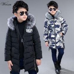 Детские зимние куртки для мальчиков, длинное теплое камуфляжное пальто с меховым капюшоном, Детская парка, одежда для мальчиков-подростков ...