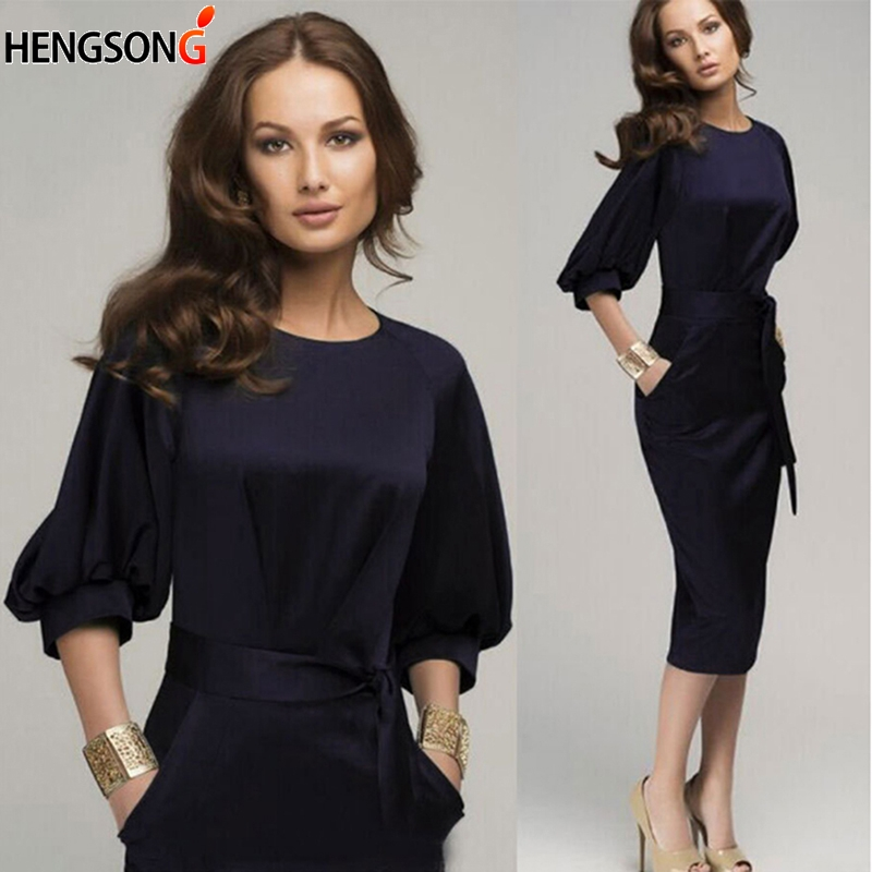 New Women Spring Dress Office Lady Mod-Calf Pencil Dress With Sashes Lantern Sleeve Slim Bodycon Business Party Dress Vestidos