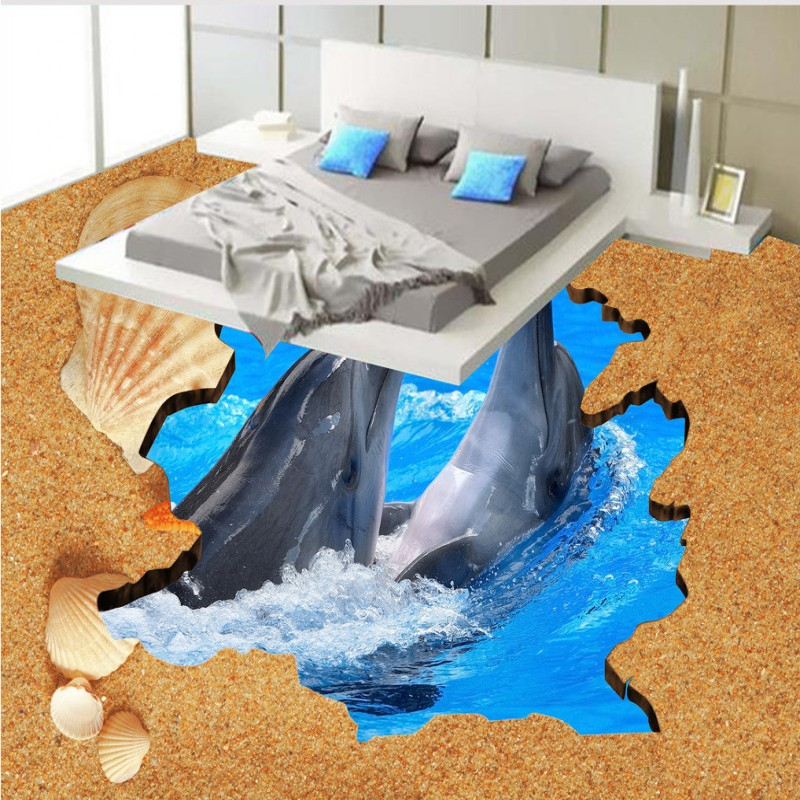 Free Shipping non-slip floor mural 3D Dolphin Beach bedroom bookstore shopping mall Floor Painting wallpaper mural free shipping floating suspension mountain dolphin 3d outdoor floor painting wear non slip bedroom bathroom flooring mural