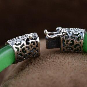 Image 2 - 순수한 925 실버 팔찌 그린 핑크 화이트 오팔 MARCASITE 100% S925 스털링 실버 직경 5.9cm Bangles for Women Jewelry
