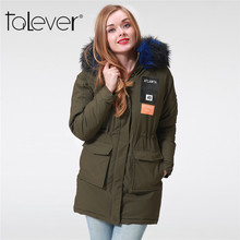 Fall Winter Women Parka Fashion Army Green Faux Fur Collar Hooded Warm Thicker Ladies Long Coat Female Outerwear Jackets Talever(China)