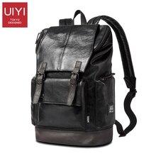 Uiyi moda hombres negro pu mochila hombres bolsa de viaje mochila mochila portátil masculina de alta calidad # uyb16019
