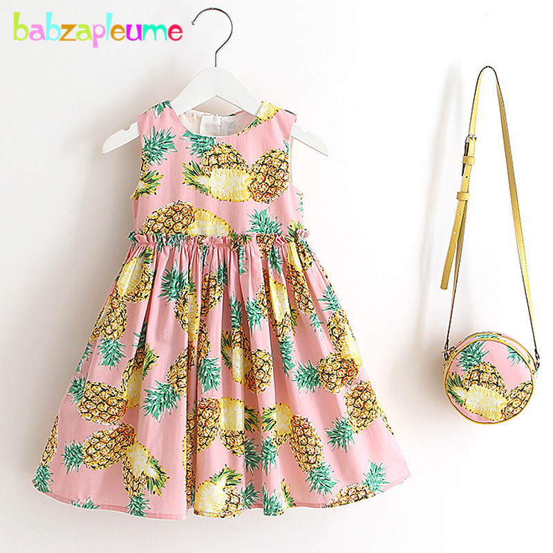 babzapleume Summer Baby Girls Clothes Princess Dress Sleeveless Cute Kids Suits Infant Dresses+Bags Children Clothing Set BC1346 children dresses 2017 summer fashion style girls lace princess dress kids sleeveless embroidery cute clothes dress for 3 7y
