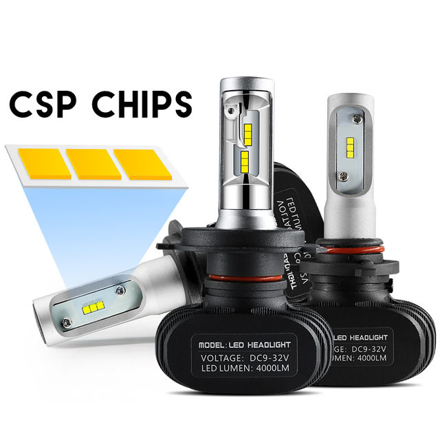 2PCs S1 H7 LED Car Headlight H4/HB2/9003 Hi/Lo CSP Chips LED 9005 9006 H8/H9/H11 Diodes LED H7 Automoibles 8000LM 6500k Light