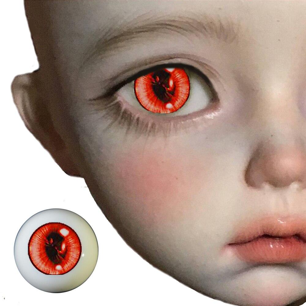 A Pair BJd Eyes For 1/3  1/4 1/6 Bjd Dolls  Red Watercolor Cartoon Bjd Eyes For Sd Dolls Toys Eyeball  Acrylic EYEs For Toys