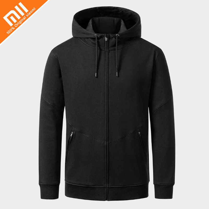 Genuine xiaomi classic wild hooded sweater zipper men's sweater high quality black Spring and autumn clothe Anti-wrinkle sweater longline hooded chunky sweater page 1