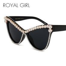 ROYAL GIRL 2017 New Women Luxury Brand Design Crystal Sunglasses Retro Oversize Diamonds Female Shades Sun Glasses ss507