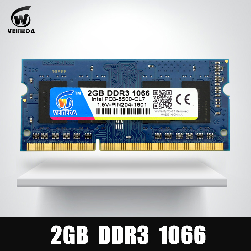 VEINEDA memoria Ram DDR3 2 GB 1066 Sodimm ram ddr 3 PC3-8500 204pin Compatible 1333 MHz para AMD Intel portátil
