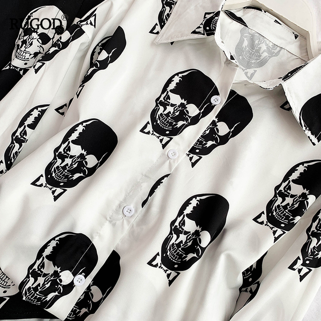 TURN DOWN COLLAR ELEGAN SKULL WOMEN BLOUSES