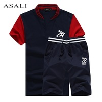 2 PCS New Mens Fashion Suit Summer Style Short Sleeve T Shirt Shorts Causal Male Set