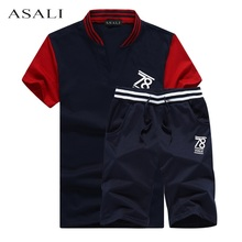 2 PCS! New Mens Fashion Suit Summer Style Sleeve T-shirt & Causal Male Set Tracksuit Man T Shirt 2017 Funny T Shirt(China)
