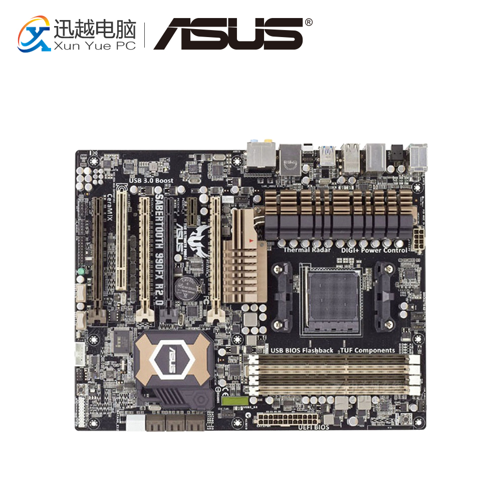 Asus SABERTOOTH 990FX R2.0 Desktop Motherboard 990FX Socket AM3+ DDR3 SATA3 USB2.0 ATX asus crosshair iv extreme desktop motherboard 890fx socket am3 ddr3 sata3 usb3 0 atx