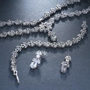 Image 4 - Emmaya יוקרה זירקון כלה סטי תכשיטי חתונת Zirconia שרשרת/עגילים/צמיד סט מלא לנשים מפלגה