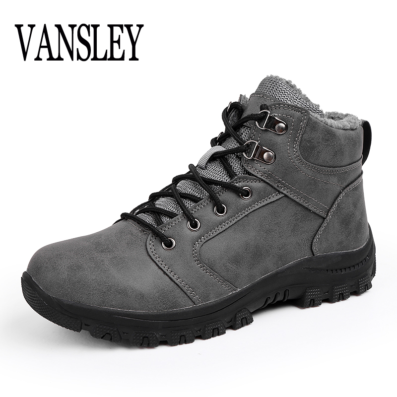 Luxury Men Leather Male Winter Warm Fur Ankle Boots Waterproof Vintage Ankle Boots Solid Color Martin Footwear Casual Boots