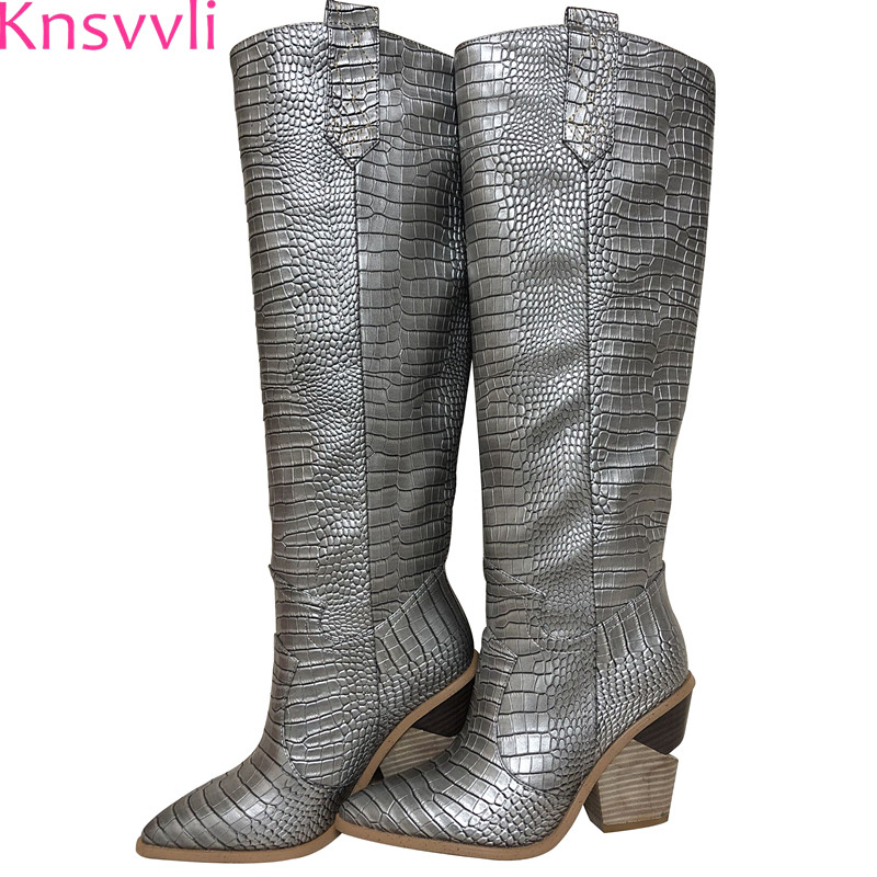 Knsvvli pointus femmes style étrange à talons hauts genou bottes d'or argent plaid piste chaussures chevalier bottes courtes et longs chaussons