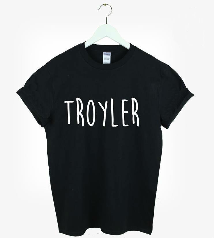 cd814dbdf7 2015 Brand New Kobiety Tshirt Troyler Litery Druku Bawełna Casual Śmieszne  Shirt Dla Pani Czarny Biały Top Tee Hipster ZT203-55
