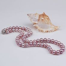 925 silver real natural big 10-11mm natural freshwater pearl necklace round Edison color factory direct wholesale