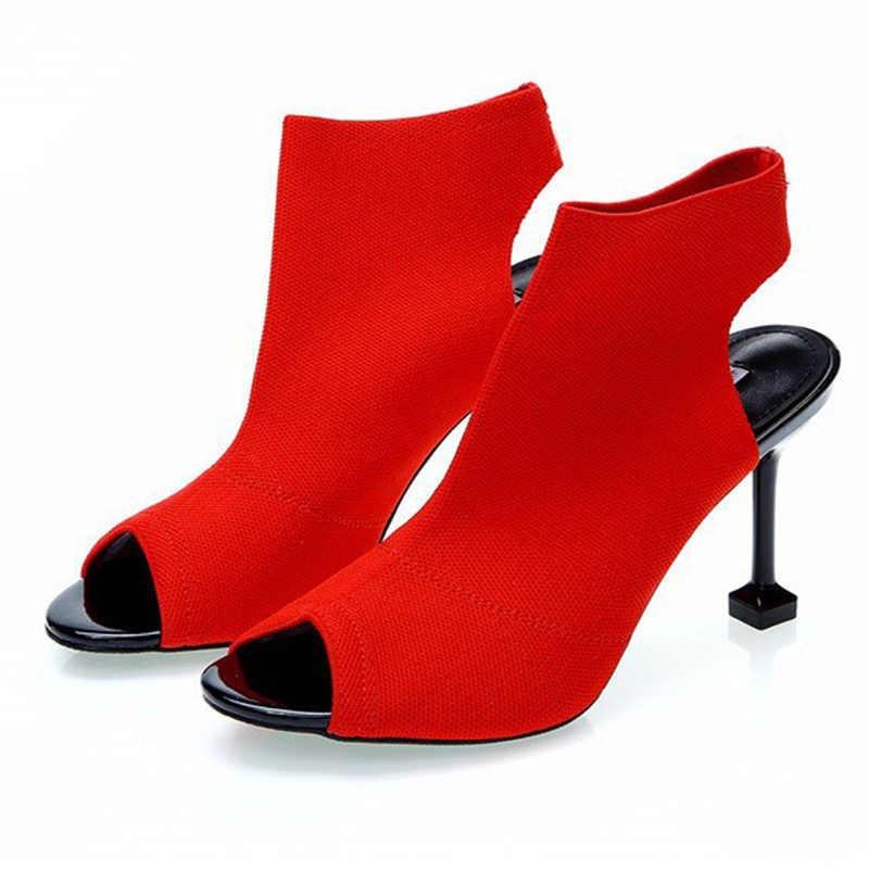 Женские вязаные босоножки на высоком каблуке 8 см; женская свадебная обувь; Новинка; Летние сандалии-гладиаторы; красивая обувь на высоком каблуке для девочек; L04
