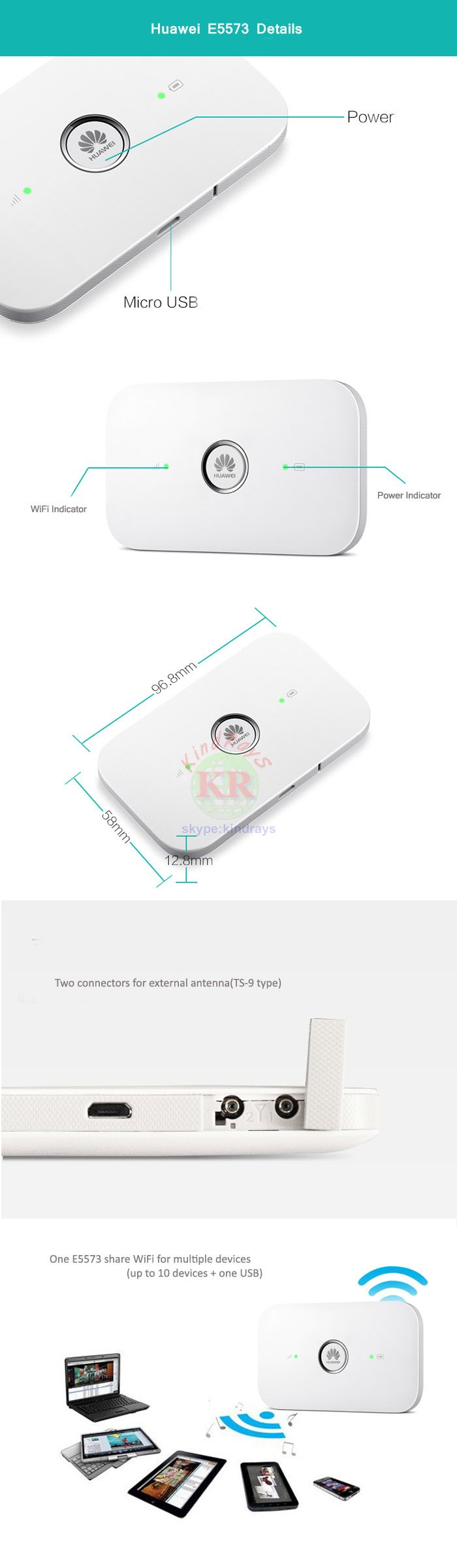 Unlocked E5573 E5573s-606 CAT4 150M 4G LTE FDD 700/1800/2100/2600MHz TDD  2300MHz 3G WiFi Router Wireless Mobile Wi Fi