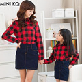 1pc Retail 2016 Mother Dauther Matching Shirts Fashion Family Pack Mommy Me Spring Autumn Plaid T-shirt