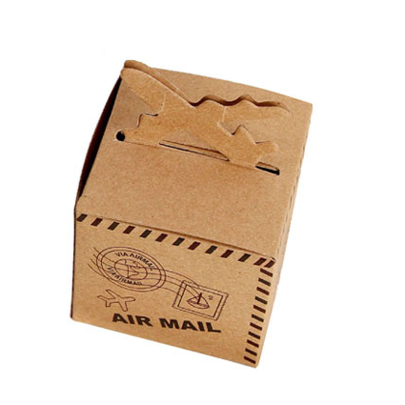 50pcs Kraft Paper Candy Box Travel Theme Vintage Favors Airplane Air Mail Baby Shower Gift Box Wedding Souvenirs scatole regalo