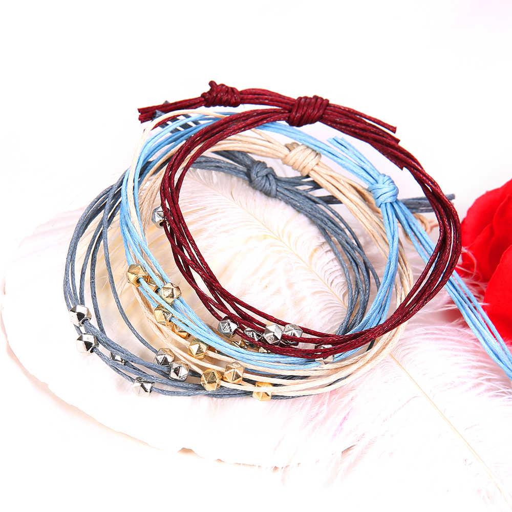 4 יח'\סט בוהמי אופנה רטרו חרוזים צבעוני עור ארוג צמיד סט נשים קסם מסיבת תכשיטי אביזרי מתנות