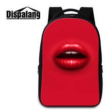 Dispalang women shoulder backpacks sexy red lips print laptop backpack personalized design computer bagpack mochilas feminina