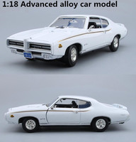 High simulation 1969 Pontiac GTO,1:18 advanced alloy collection car toys,metal diecast toy vehicles,4 open doors,free shipping