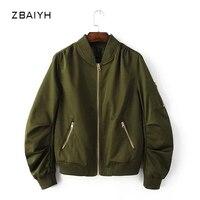 ZBAIYHผู้หญิงเสื้อฤดูใบไม้ร่วงฤดูหนาวกองทัพสีเขียวf emmeนักบินboomerแจ็ค