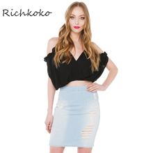 Richkoko New Fashion Women Solid T-shirt Sexy Deep V Neck Cold Shoulder Crop Tops Backless Spaghetti Strap Tshirts