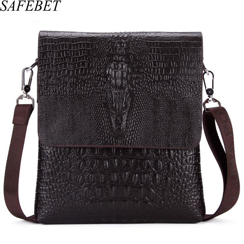 SAFEBET Brand Crocodile Pattern Fashion Men Shoulder bags High Quality PU Leather Casual Messenger bag Business Men's Travel bag safebet brand crocodile pattern fashion men shoulder bags high quality pu leather casual messenger bag business men s travel bag