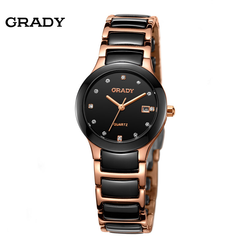 Luxury Ceramic Water Resistant Women Wrist Watch Free Shipping Top Quality Women Steel Ceramic Rhinestone watches