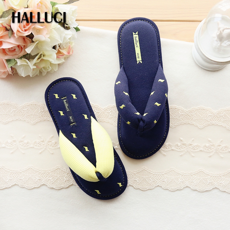 HALLUCI Summer lovers Home slippers woman shoes simple fresh blue lightning indoor floor cotton flip flops women babouche krorche brand new unisex lovers flip flops indoor