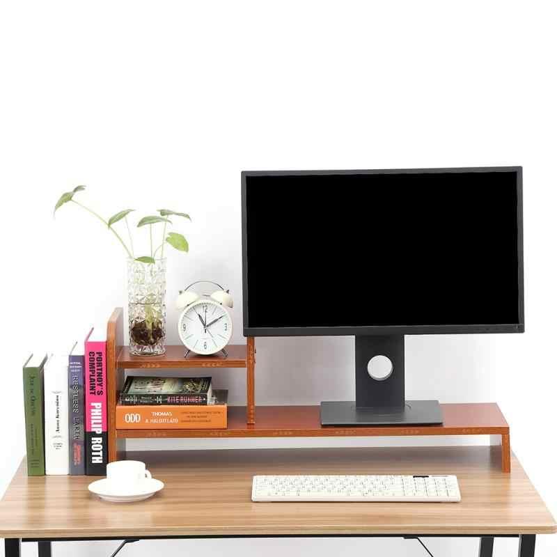 حامل شاشة خشبية LCD شاشة الكمبيوتر رصد الناهض فتحات تخزين سطح المكتب للوازم المكتبية دفتر التلفزيون