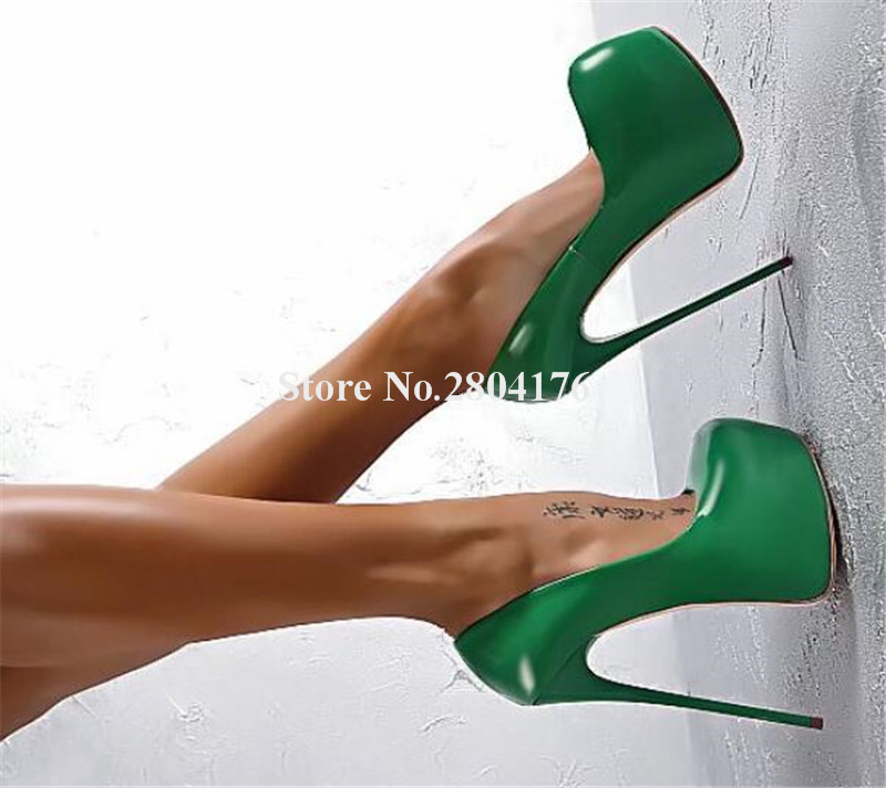 Brand Style Women Sexy Round Toe High Platform Pumps Green White Purple Pink Red Super High Heels Formal Dress ShoesBrand Style Women Sexy Round Toe High Platform Pumps Green White Purple Pink Red Super High Heels Formal Dress Shoes