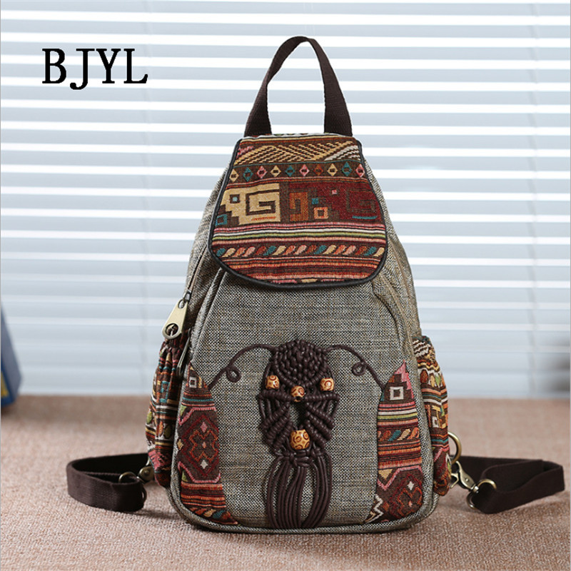 Linen Tribal Ethnic Backpack Embroidered Floral Backpacks Man Women's Travel Rucksack School Shoulder bag Backpacks For Travel цена 2017