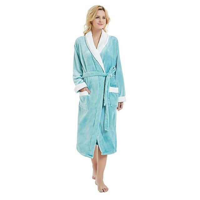 bathrobe Winter Warm Women Men Bathrobe Thick Medium-Long Soft Night Dress  bath robe Female bathrobe Sleepwear 2018 Nightgown f2f420d03
