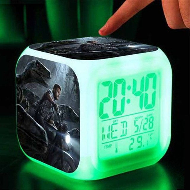 Jurassic World Alarm Clock Bedroom LED Digital Alarm Clock Kids Toys 7  Color Flash Reloj Despertador