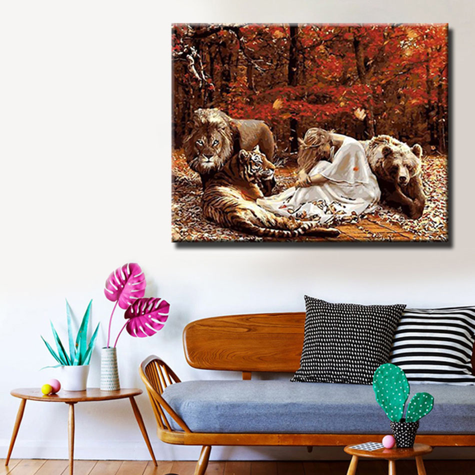 WEEN DIY Painting By Numbers Drawing Painting By Numbers Kits Paint On Canvas For Home Wall Art Picture 40x50cm Beauty and lion in Painting Calligraphy from Home Garden