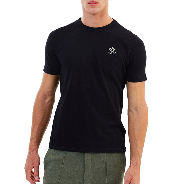 Mens Aum Om Ohm India Symbol Embroidered Embroidery Casual T Shirts Men Tee