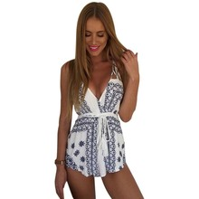 New Sexy Women Summer Floral V Neck Romper Bodycon Jumpsuit Beach Trousers Backless
