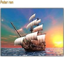 Diamond painting Smooth sailing embroidery Sunset 3d square mosaic full Rhinestones Landscape