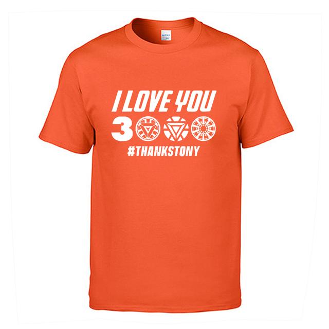 I Love You 3000 Times T shirt Men Superhero Iron Man Tony Stark The Avengers Summer T Shirts Cotton Short Sleeve Black Tshirt