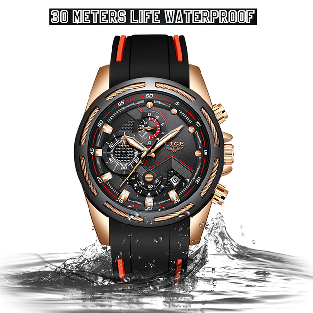 LIGE New Mens Watches Top Luxury Brand Men Unique Sports Watch  2