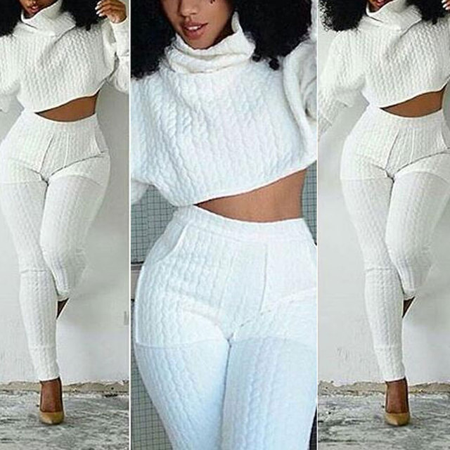 c938b060ead7f Winter 2pcs Suits Women Warm Suit Turtleneck Cropped Top Long Sleeve and  Pencil Ankle-length Skinny Pants Tracksuit Two Piece