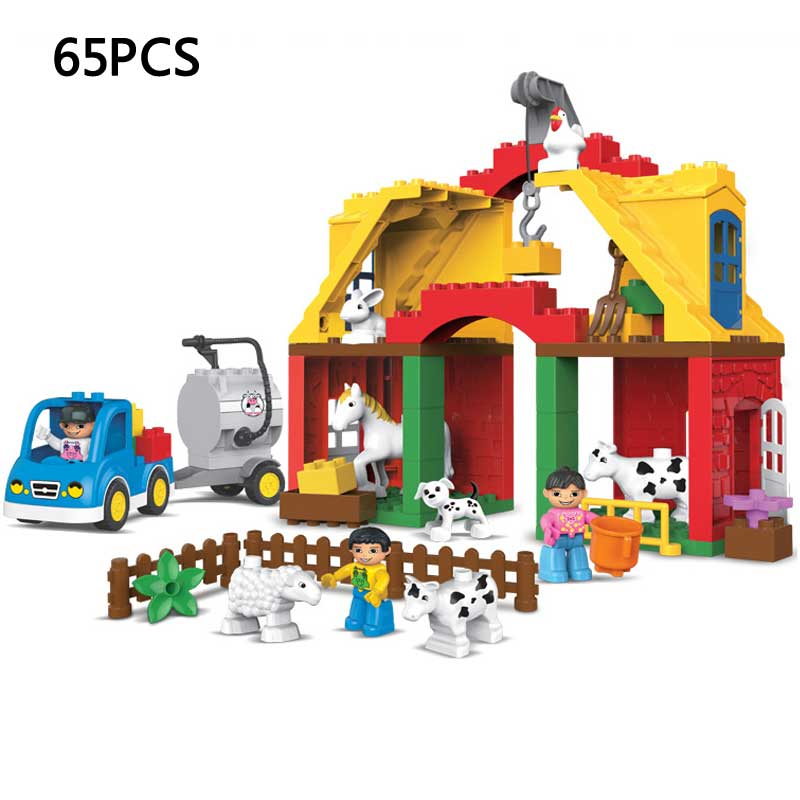 Kid's Home Toys Large Particles Happy Farm Animal Paradise Model Building Blocks Large Size DIY Brick Toy Compatible With Duploe qwz 39 65pcs farm animals paradise model car large particles building blocks large size diy bricks toys compatible with duplo