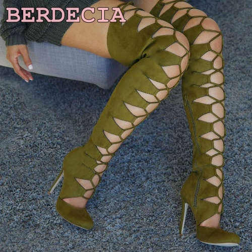 Women chic army green suede pointed toe long boots over the knee lace up boots night club thigh high fastening stiletto heels купить