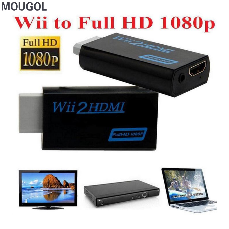 MOUGOL 1pcs For Wii to HDMI 1080P Converter Wii2HDMI Adapter 3.5mm Audio Video Output Full HD 1080P Output Upscaling